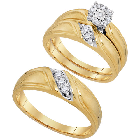 10kt Yellow Gold His Hers Round Diamond Solitaire Matching Wedding Set 1/4 Cttw
