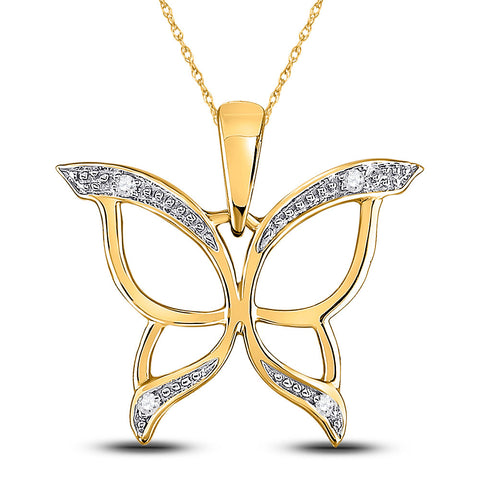 10kt Yellow Gold Womens Round Diamond Butterfly Bug Pendant .03 Cttw