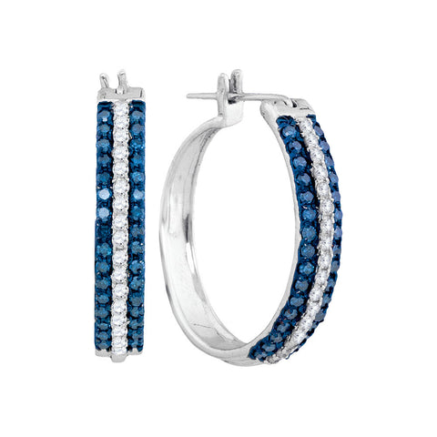 10kt White Gold Womens Round Blue Color Enhanced Diamond Hoop Earrings 1 Cttw