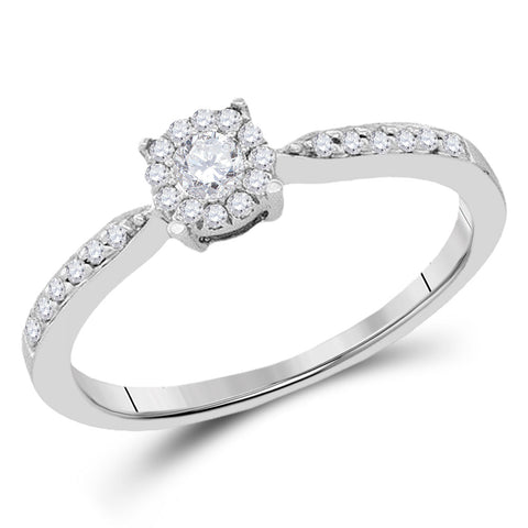 10kt White Gold Round Diamond Solitaire Bridal Wedding Engagement Ring 1/4 Cttw