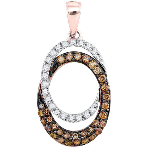 10kt Rose Gold Womens Round Brown Diamond Double Oval Pendant 1/2 Cttw