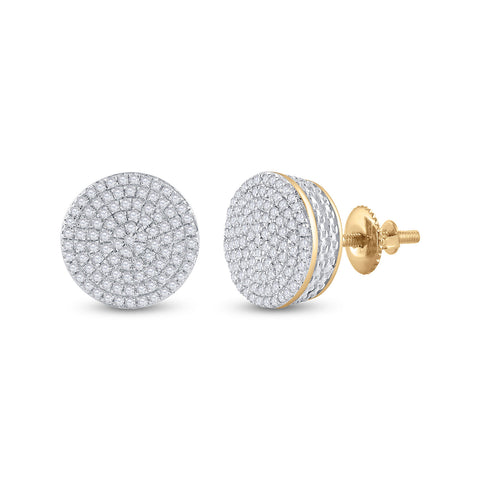 10kt Yellow Gold Womens Round Diamond Circle Cluster Earrings 1/3 Cttw