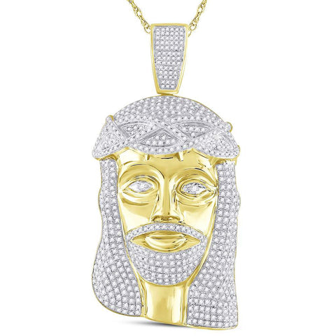 10kt Yellow Gold Mens Round Diamond Jesus Face Charm Pendant 3 Cttw