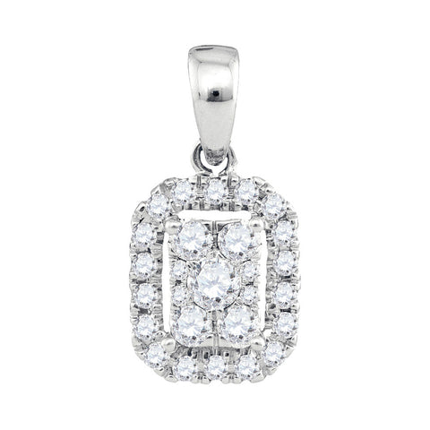 14kt White Gold Womens Round Diamond Cluster Pendant 1/3 Cttw
