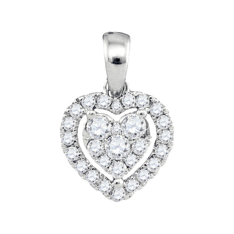 14kt White Gold Womens Round Diamond Heart Pendant 1/3 Cttw