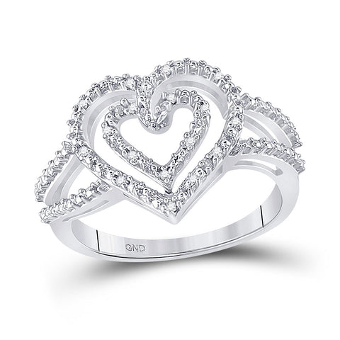 Sterling Silver Womens Round Diamond Nested Double Heart Ring 1/20 Cttw