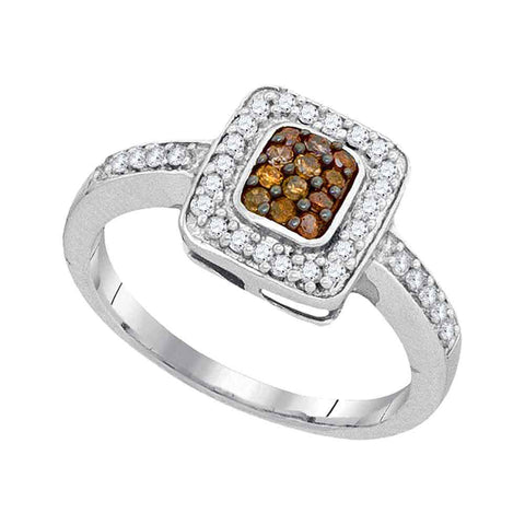 10kt White Gold Womens Round Brown Diamond Square Cluster Ring 1/3 Cttw