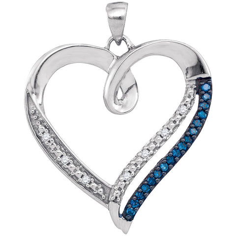 10kt White Gold Womens Round Blue Color Enhanced Diamond Heart Outline Pendant 1/6 Cttw