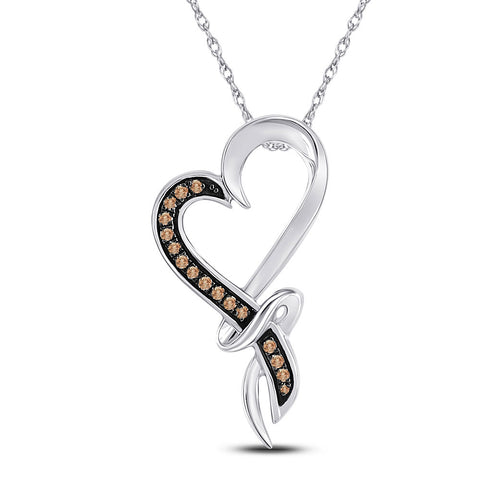 10kt White Gold Womens Round Brown Diamond Heart Pendant 1/10 Cttw