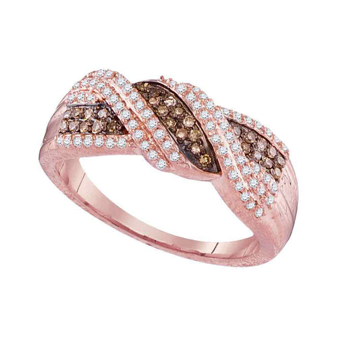 10kt Rose Gold Womens Round Brown Diamond Crossover Band Ring 3/8 Cttw