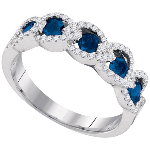 14kt White Gold Womens Round Blue Sapphire Diamond Outline Band 3/4 Cttw