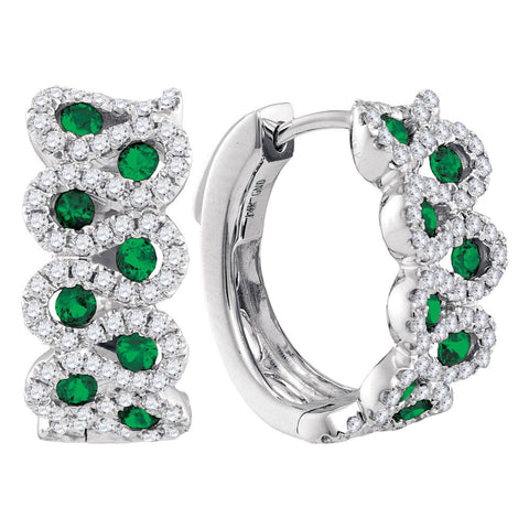 14kt White Gold Womens Round Emerald Diamond Hoop Earrings 1-3/8 Cttw