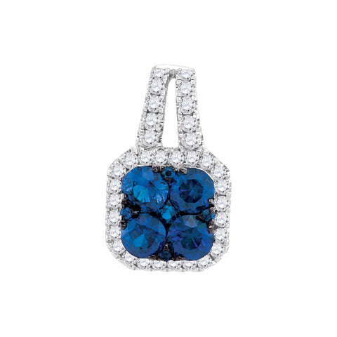 14kt White Gold Womens Round Blue Sapphire & Diamond Square Cluster Pendant 3/4 Cttw