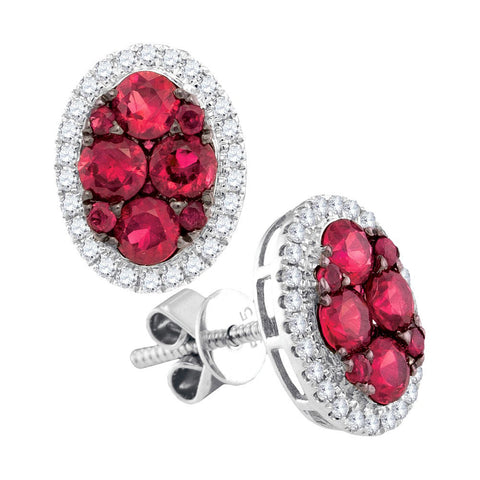 14kt White Gold Womens Round Ruby Diamond Oval Earrings 1-1/2 Cttw