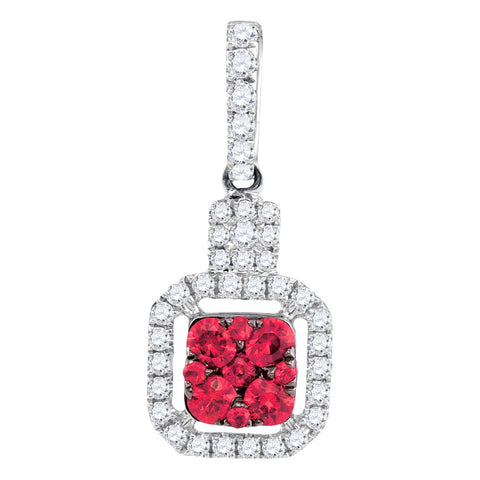 14kt White Gold Womens Round Ruby Cluster Diamond Square Pendant 1/2 Cttw