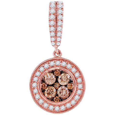 14kt Rose Gold Womens Round Brown Diamond Cluster Pendant 1 Cttw