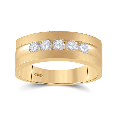 14kt Yellow Gold Mens Round Diamond Wedding 5-Stone Band Ring 1/2 Cttw
