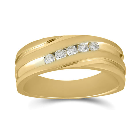 14kt Yellow Gold Mens Round Diamond Diagonal Wedding Band Ring 1/4 Cttw