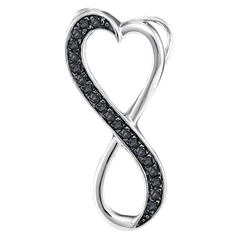 10kt White Gold Womens Round Black Color Enhanced Diamond Infinity Pendant 1/10 Cttw