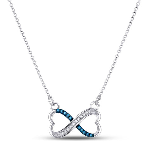 Sterling Silver Womens Round Blue Color Enhanced Diamond Infinity Necklace 1/6 Cttw