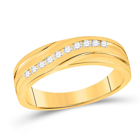 10kt Yellow Gold Mens Machine Set Round Diamond Wedding Channel Band Ring 1/4 Cttw