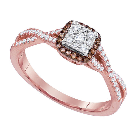 14kt Rose Gold Womens Round Brown Diamond Twist Cluster Ring 1/3 Cttw