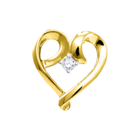 10kt Yellow Gold Womens Round Diamond Solitaire Heart Pendant 1/20 Cttw
