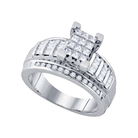 14kt White Gold Princess Diamond Cluster Bridal Wedding Engagement Ring 7/8 Cttw