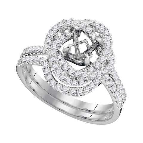 18kt White Gold Womens Round Diamond Semi-Mount Wedding Bridal Ring Band Set 5/8 Cttw