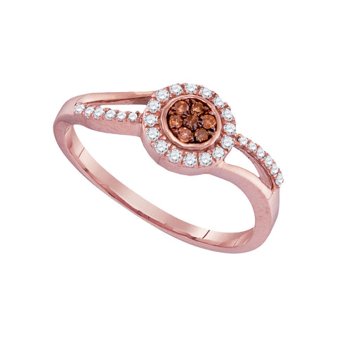10kt Rose Gold Womens Round Brown Diamond Flower Cluster Ring 1/4 Cttw
