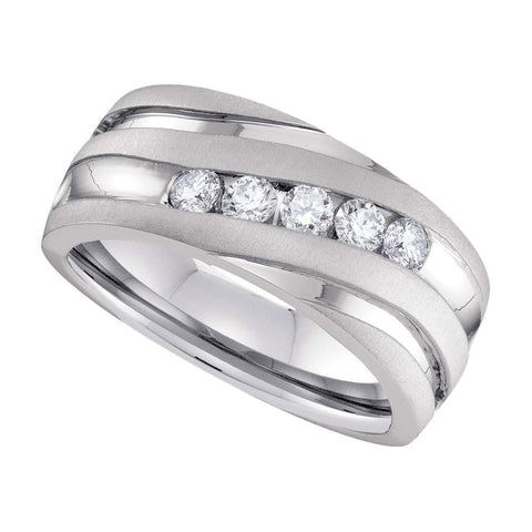 10k White Gold Mens Round Diamond Wedding Anniversary Band Ring 1 Cttw