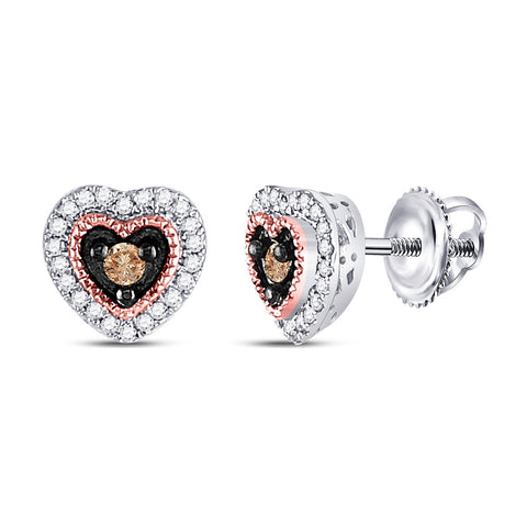 10kt Two-tone Gold Womens Round Brown Diamond Heart Earrings 1/5 Cttw