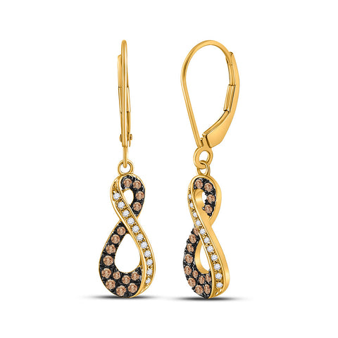 10kt Yellow Gold Womens Round Brown Diamond Infinity Earrings 1/3 Cttw
