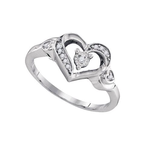 Sterling Silver Womens Round Diamond Solitaire Heart Ring 1/20 Cttw