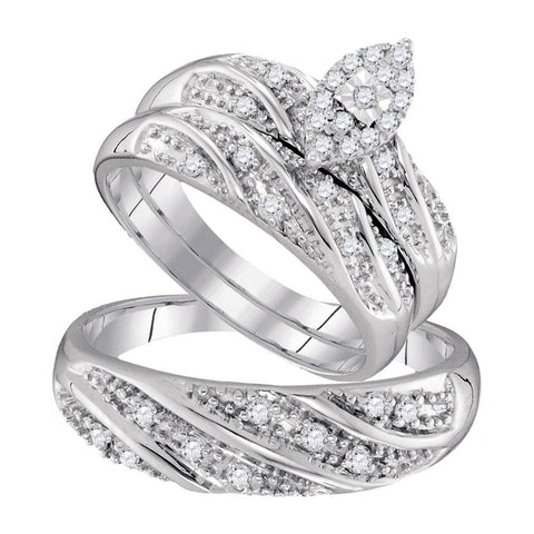 10kt White Gold His Hers Round Diamond Cluster Matching Wedding Set 1/3 Cttw