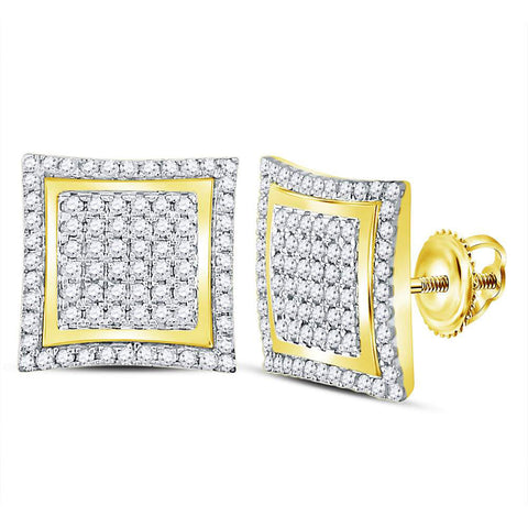 10kt Yellow Gold Mens Round Diamond Square Kite Cluster Stud Earrings 1 Cttw