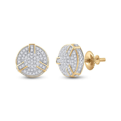 Yellow-tone Sterling Silver Mens Round Diamond 3D Disk Circle Earrings 1/4 Cttw