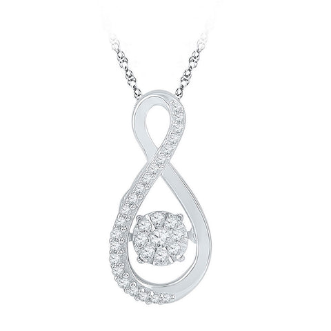 10kt White Gold Womens Moving Round Diamond Cluster Pendant 1/6 Cttw