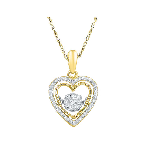 10kt Yellow Gold Womens Round Diamond Moving Twinkle Heart Pendant 1/4 Cttw