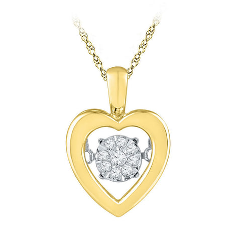 10kt Yellow Gold Womens Round Diamond Moving Twinkle Heart Pendant 1/20 Cttw