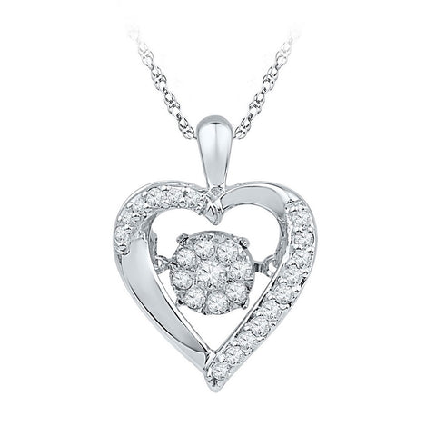 10kt White Gold Womens Moving Twinkle Round Diamond Heart Pendant 1/6 Cttw