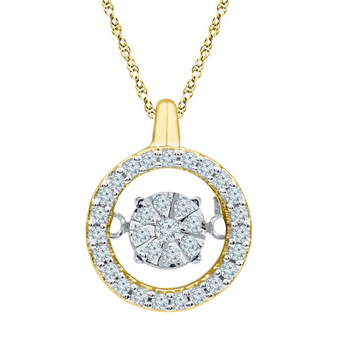 10kt Yellow Gold Womens Round Diamond Dangle Pendant 1/5 Cttw