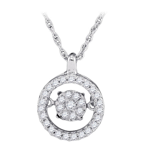 10kt White Gold Womens Round Diamond Moving Cluster Pendant 1/5 Cttw