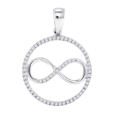 Sterling Silver Womens Round Diamond Infinity Circle Pendant 1/4 Cttw