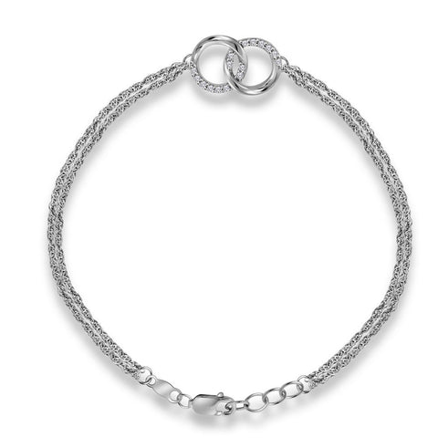 Sterling Silver Womens Round Diamond Linked Circles Fashion Bracelet 1/10 Cttw