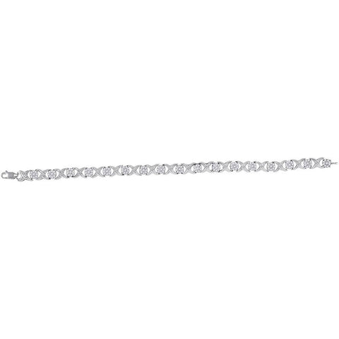 10kt White Gold Womens Round Diamond XOXO Bracelet 1 Cttw
