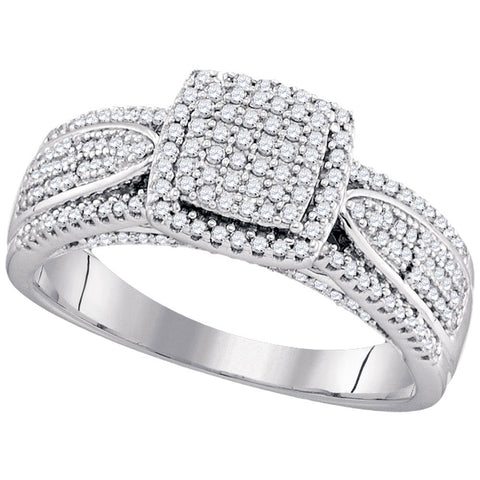 10kt White Gold Womens Round Diamond Square Cluster Ring 1/2 Cttw