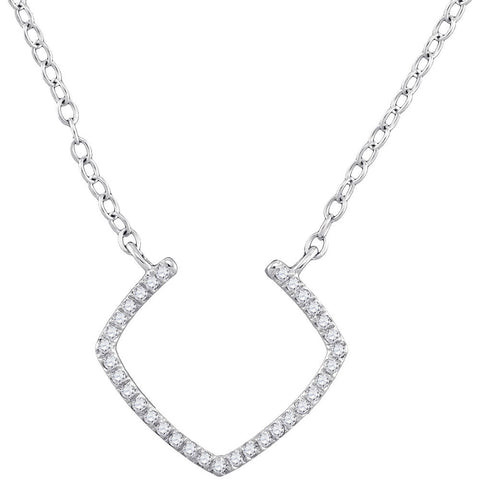 10kt White Gold Womens Round Diamond Fashion Necklace 1/10 Cttw