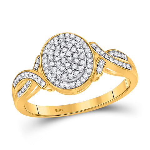10kt Yellow Gold Womens Round Diamond Oval Cluster Ring 1/4 Cttw