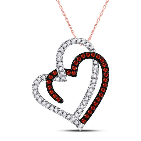 10kt Rose Gold Womens Round Red Color Enhanced Diamond Double Heart Pendant 1/5 Cttw